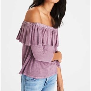 American Eagle Lilac Off the shoulder top.